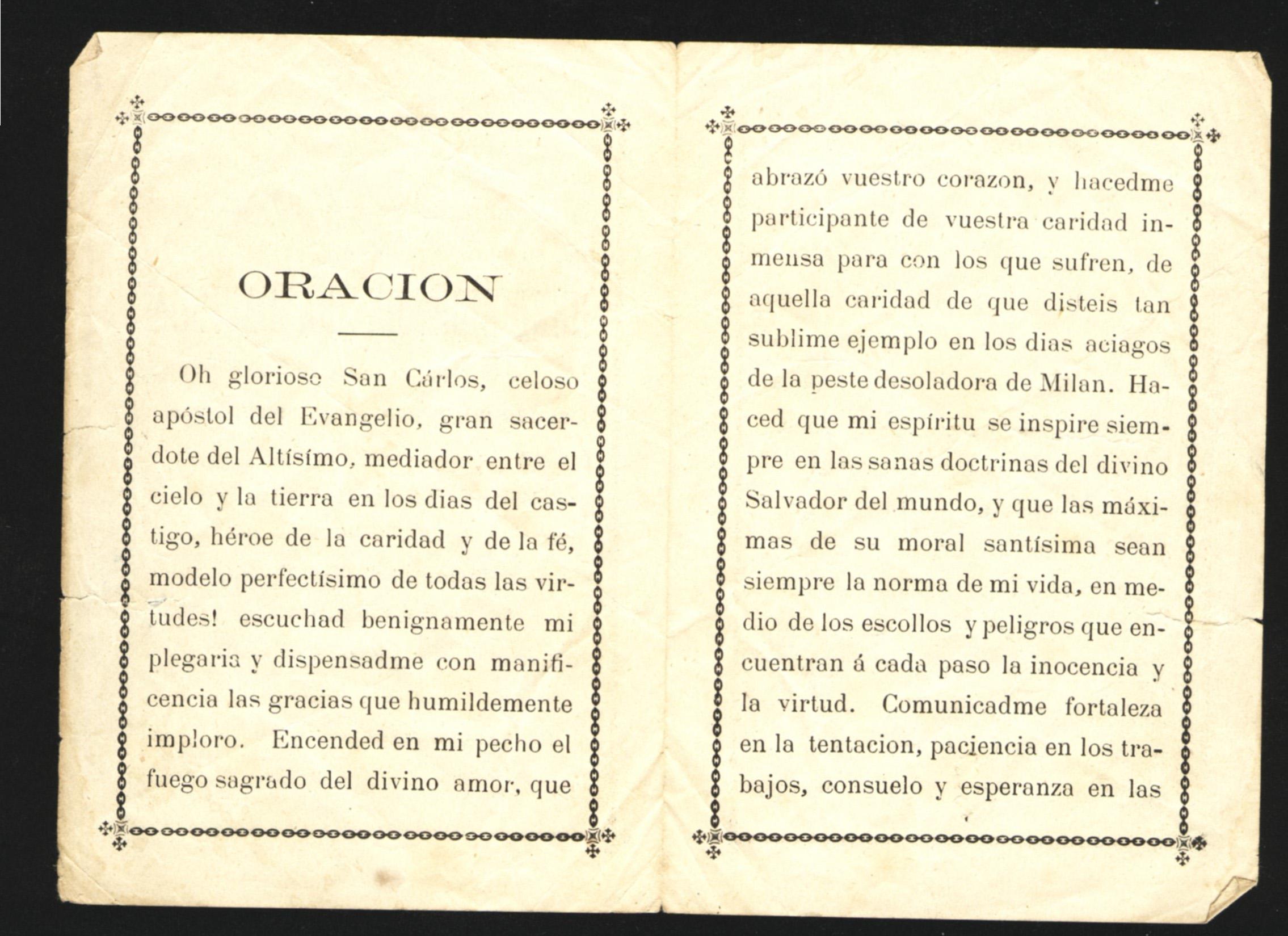 Estampita recordando la inauguración de la Iglesia San Carlos. Interior.